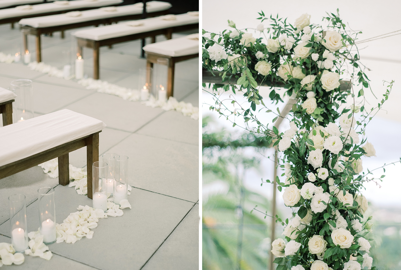 Fall wedding ceremony flowers decor
