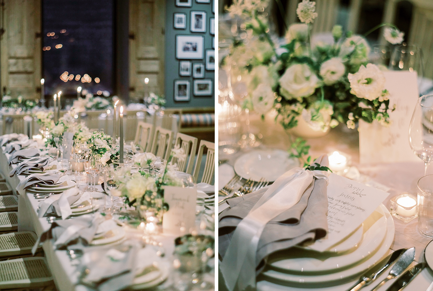 Wedding table decor and flowers at night