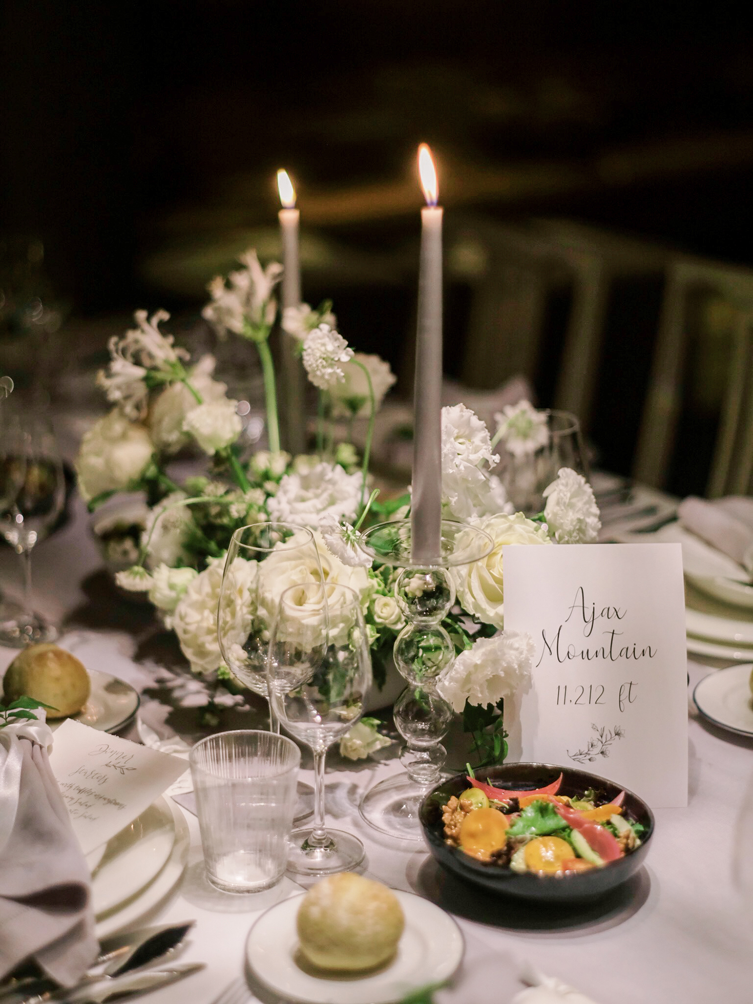 Table decor and flowers at night