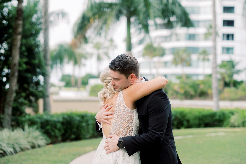 first look Florida waterfront wedding