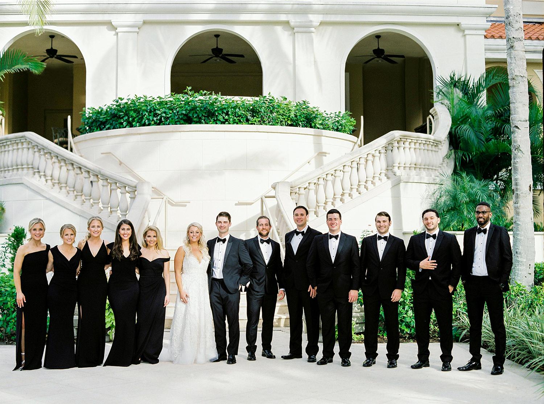 bridal party black dress Florida wedding