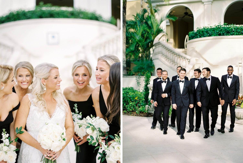 bridal party black dresses Florida wedding