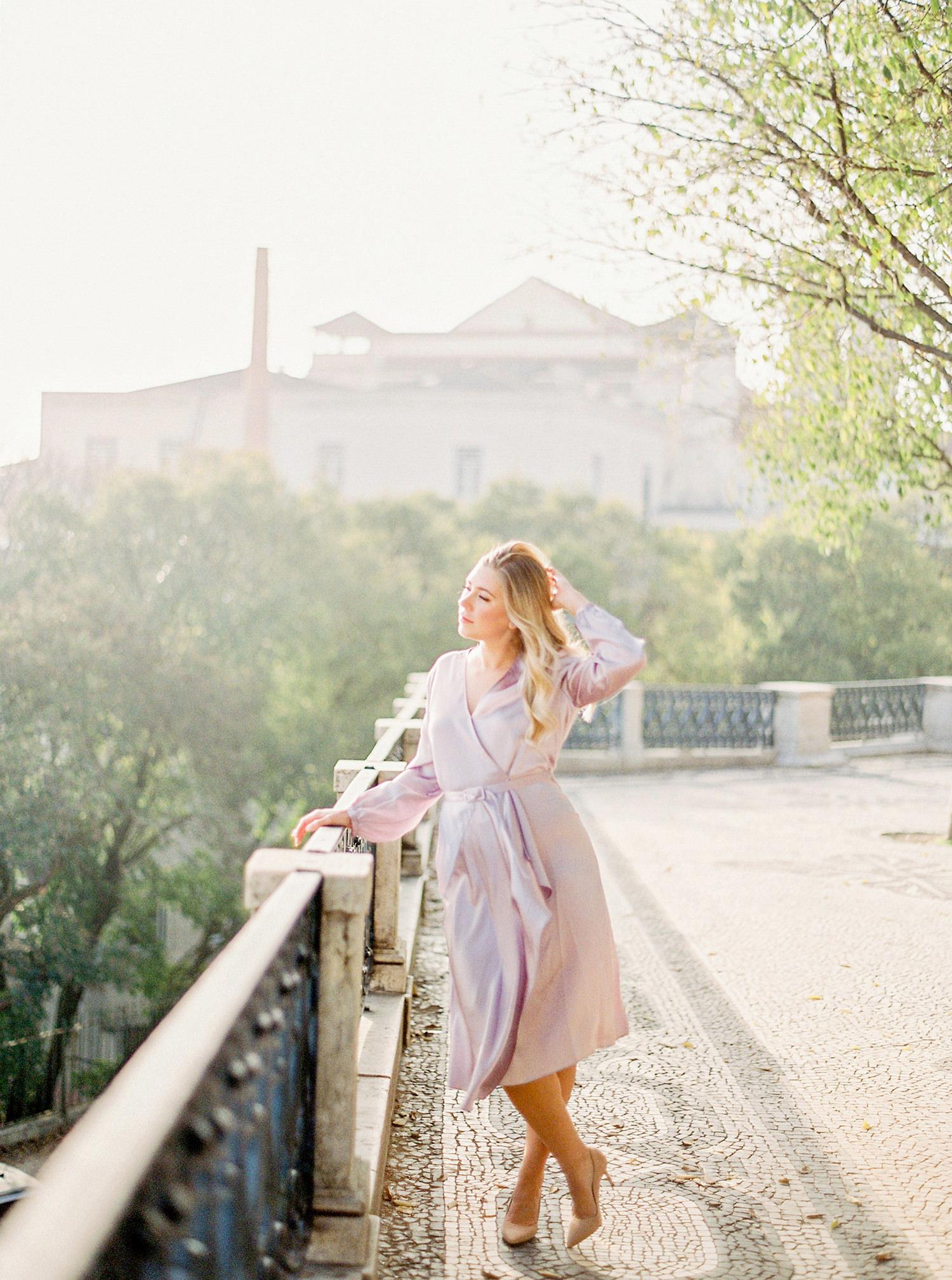 Beautiful bride in Lisbon at sunrise