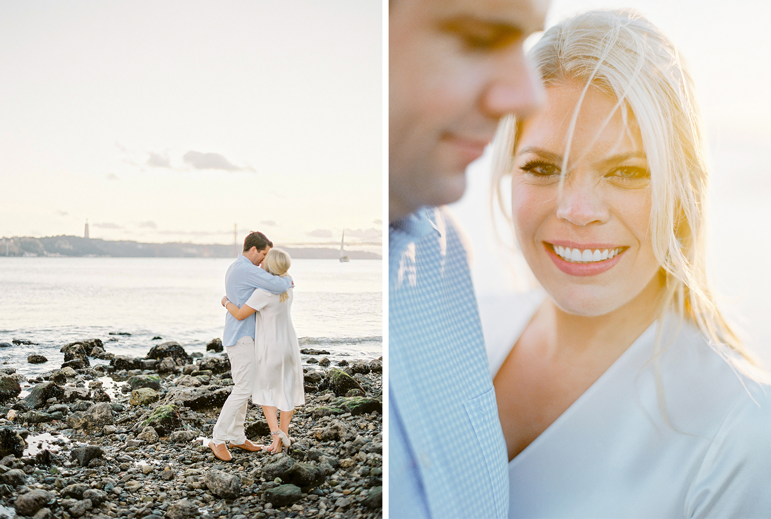 Engagement session by the river at sunset
