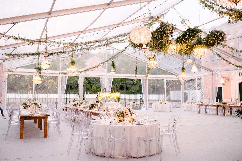 Wedding floral design ceiling installation