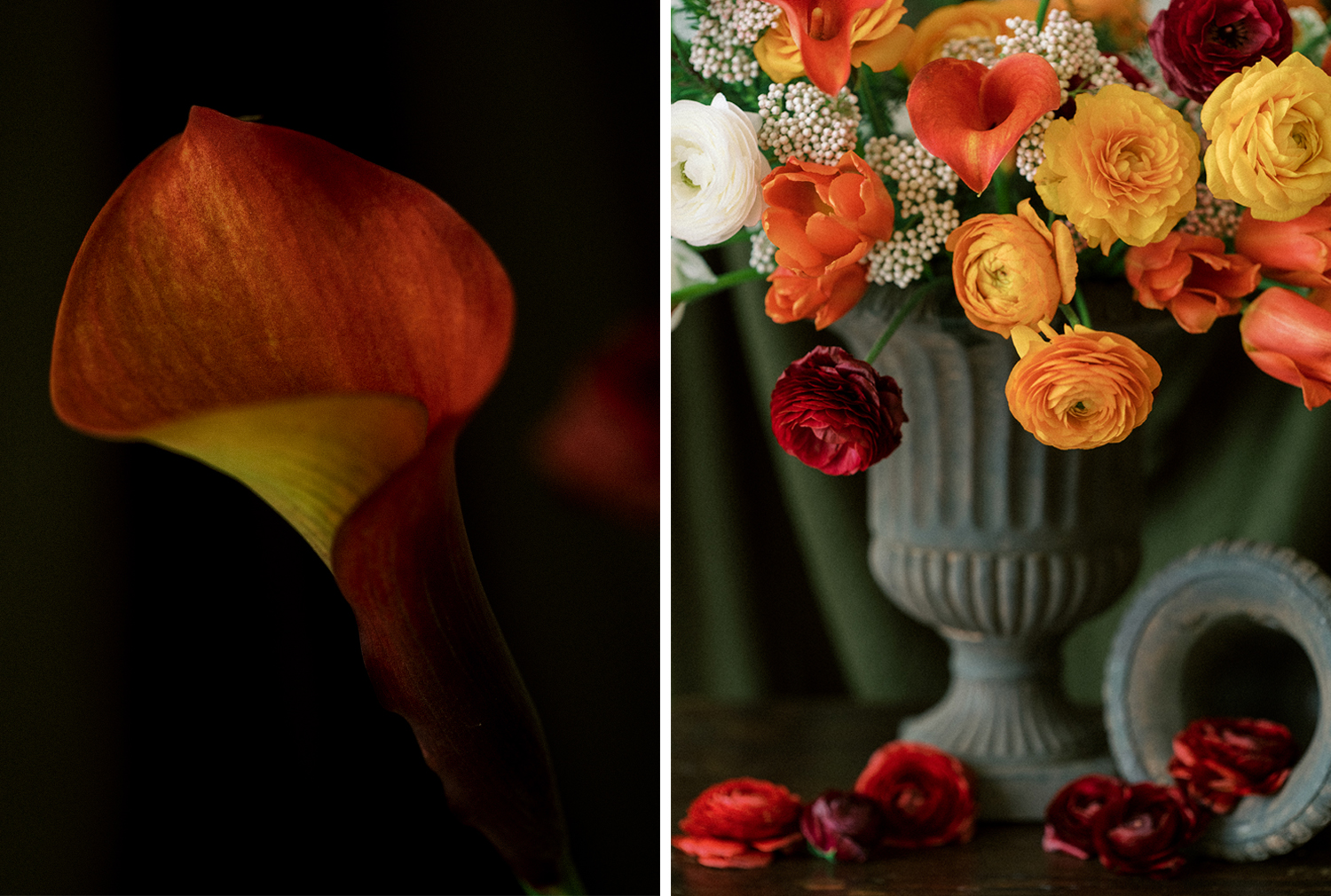 Playing around with garden urns and fresh colorful flowers
