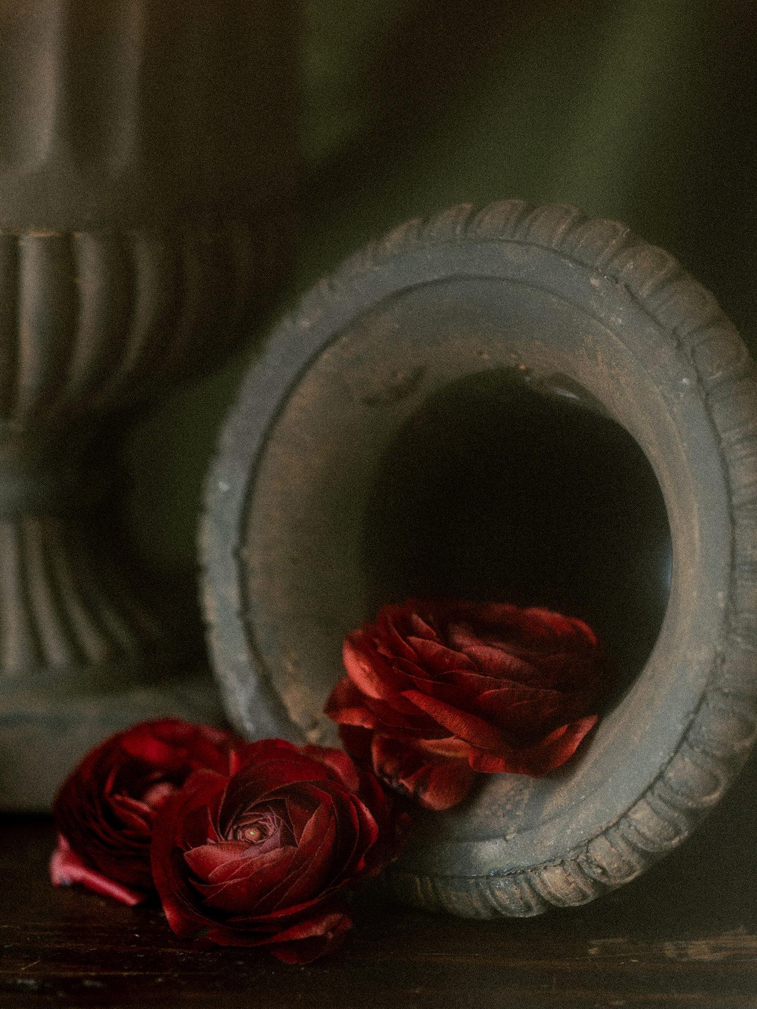 Dramatic detail of a wedding flower centerpiece.