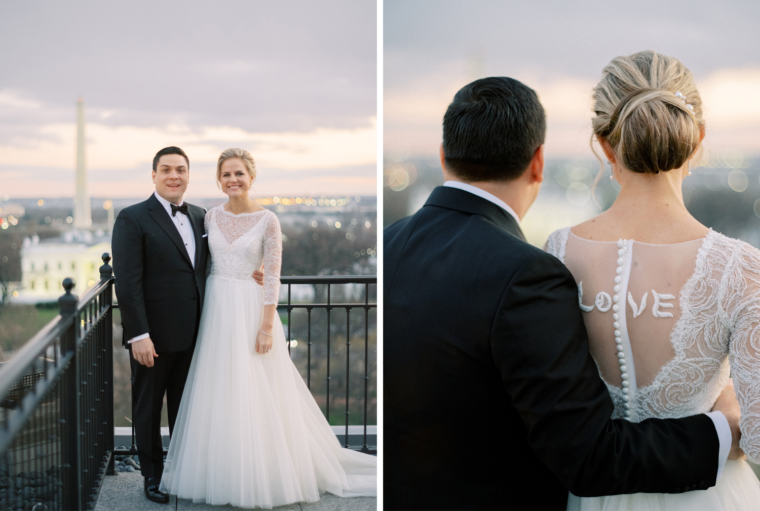 Bride and groom at The Hay Adams Hotel, enjoying the view