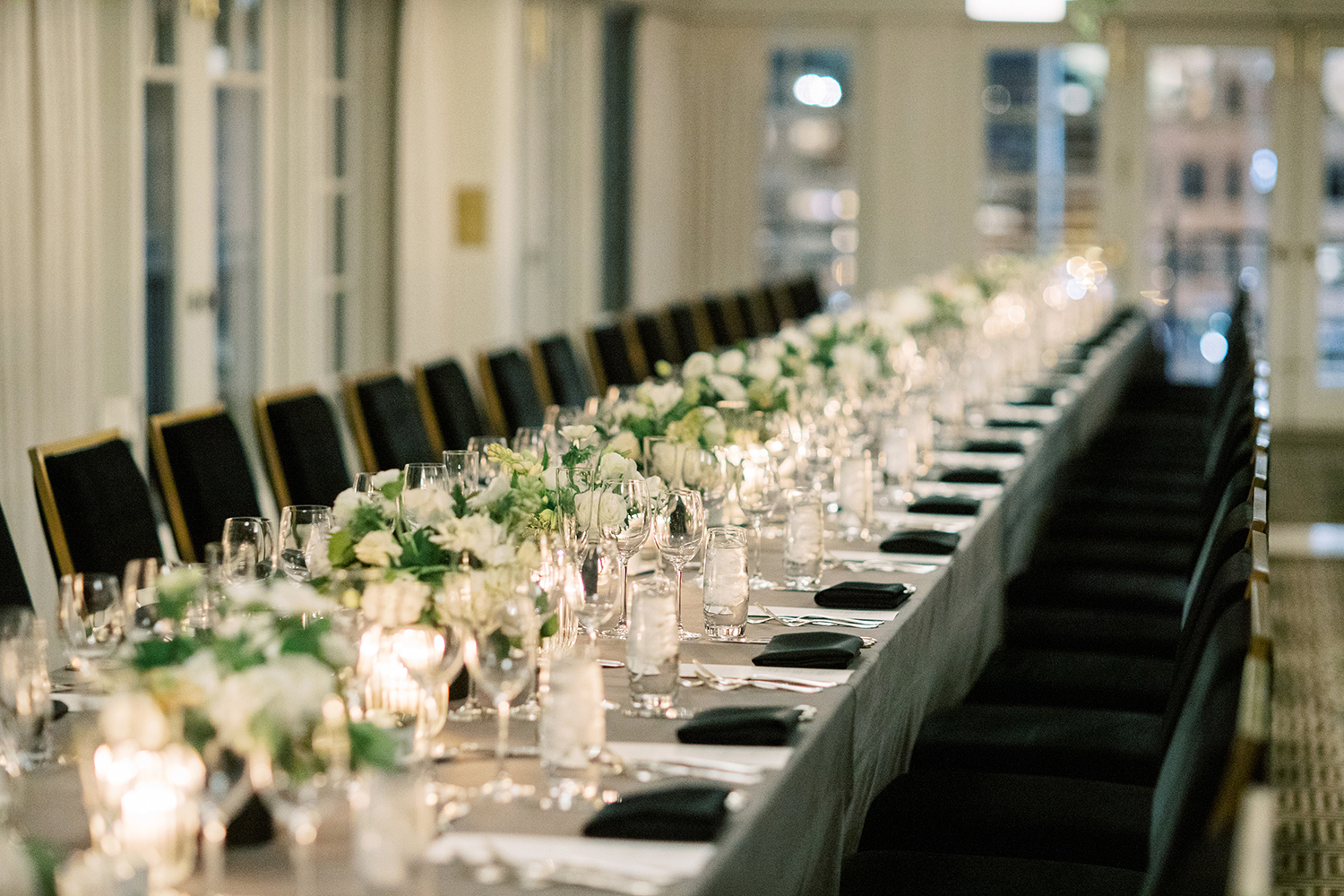 Long table design on this rooftop wedding at The Hay Adams Hotel