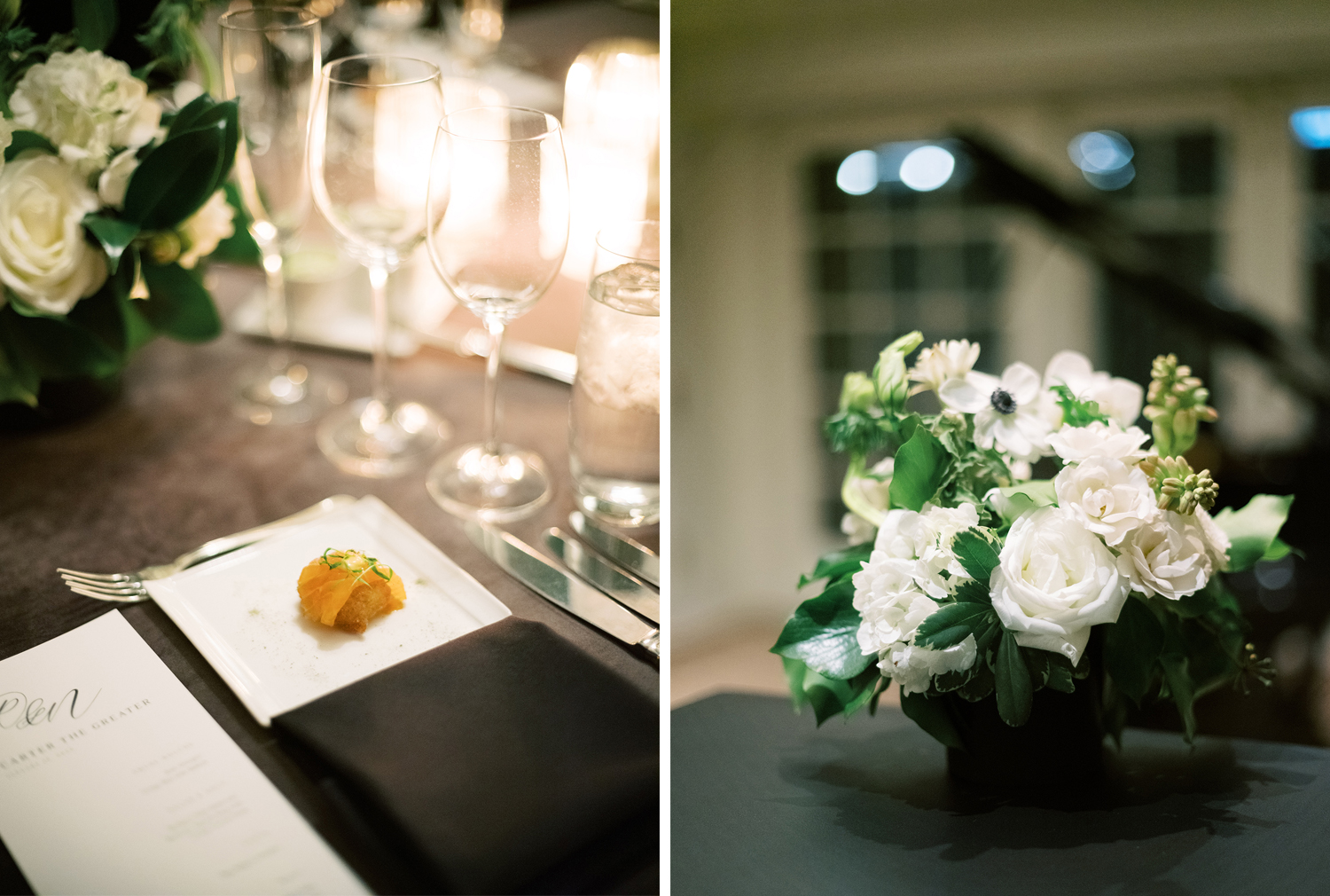 Details of the table set up at this rooftop city wedding