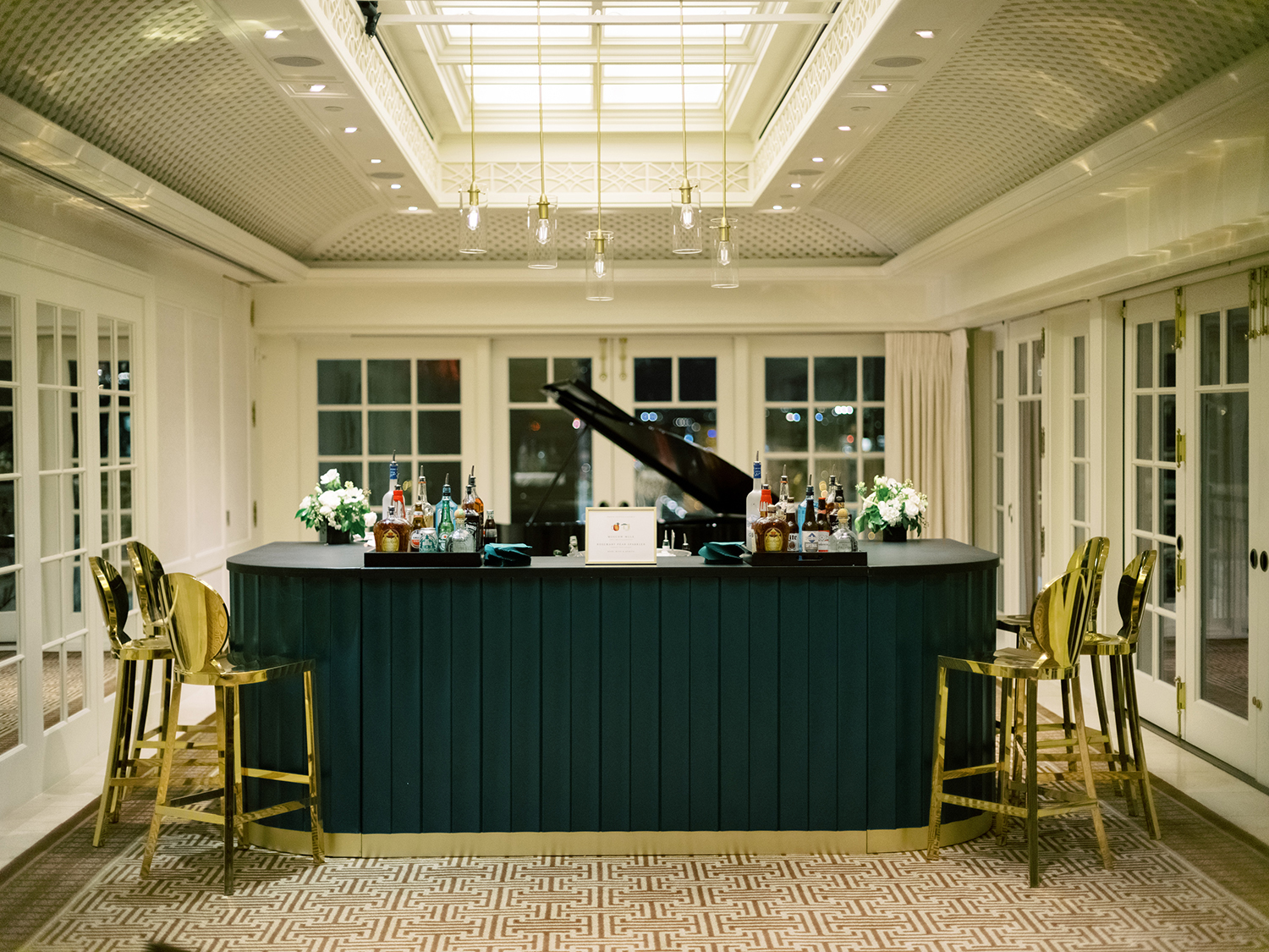 Cool and sleek bar at the rooftop of the Hay Adams Hotel