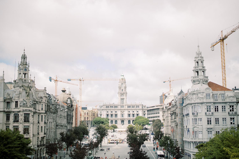 Overview of Avenida dos Aliados in Porto