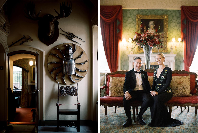 black tie surprise party at Fyvie Castle in Scotland