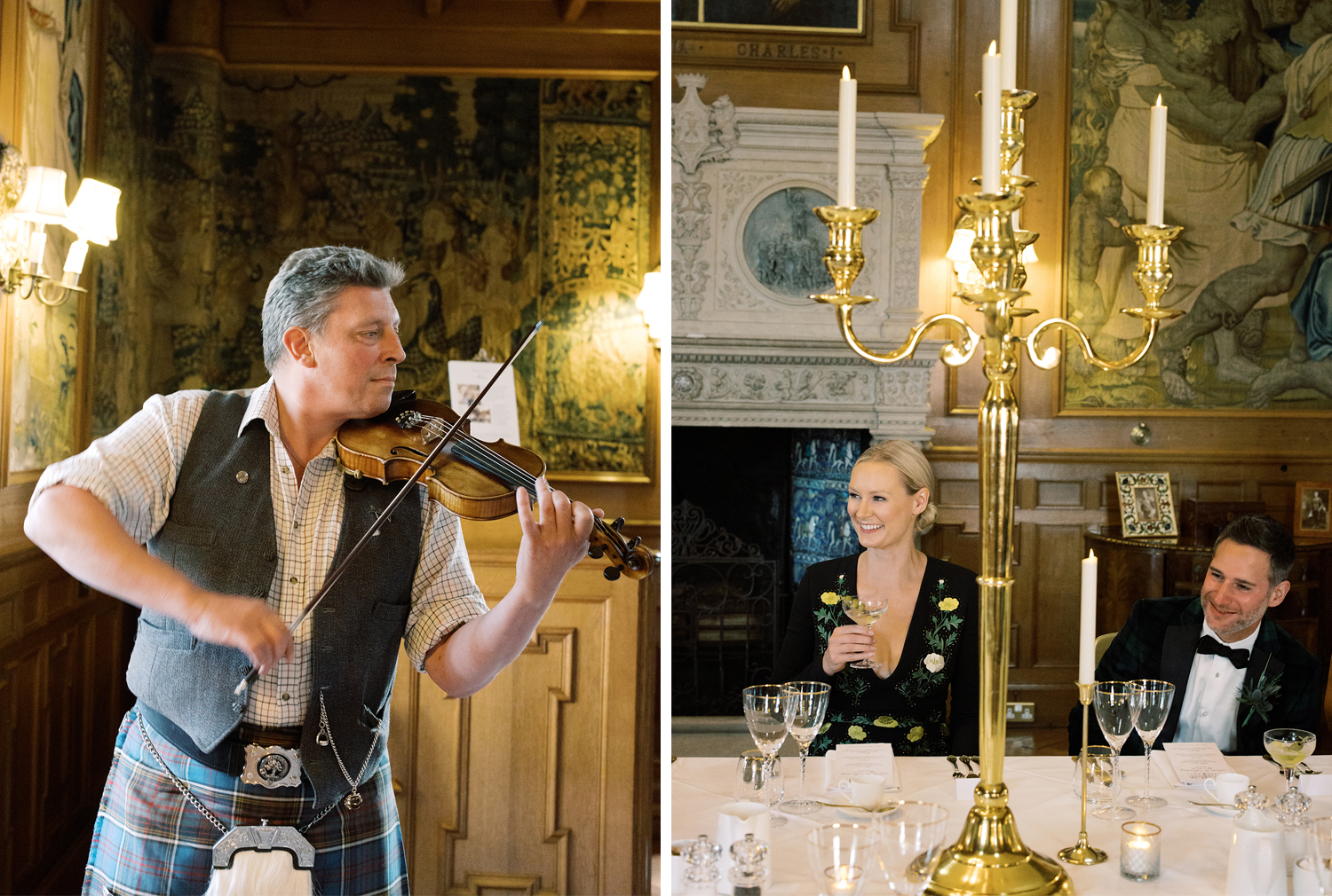 Live music at this black tie surprise party at Fyvie Castle in Scotland.