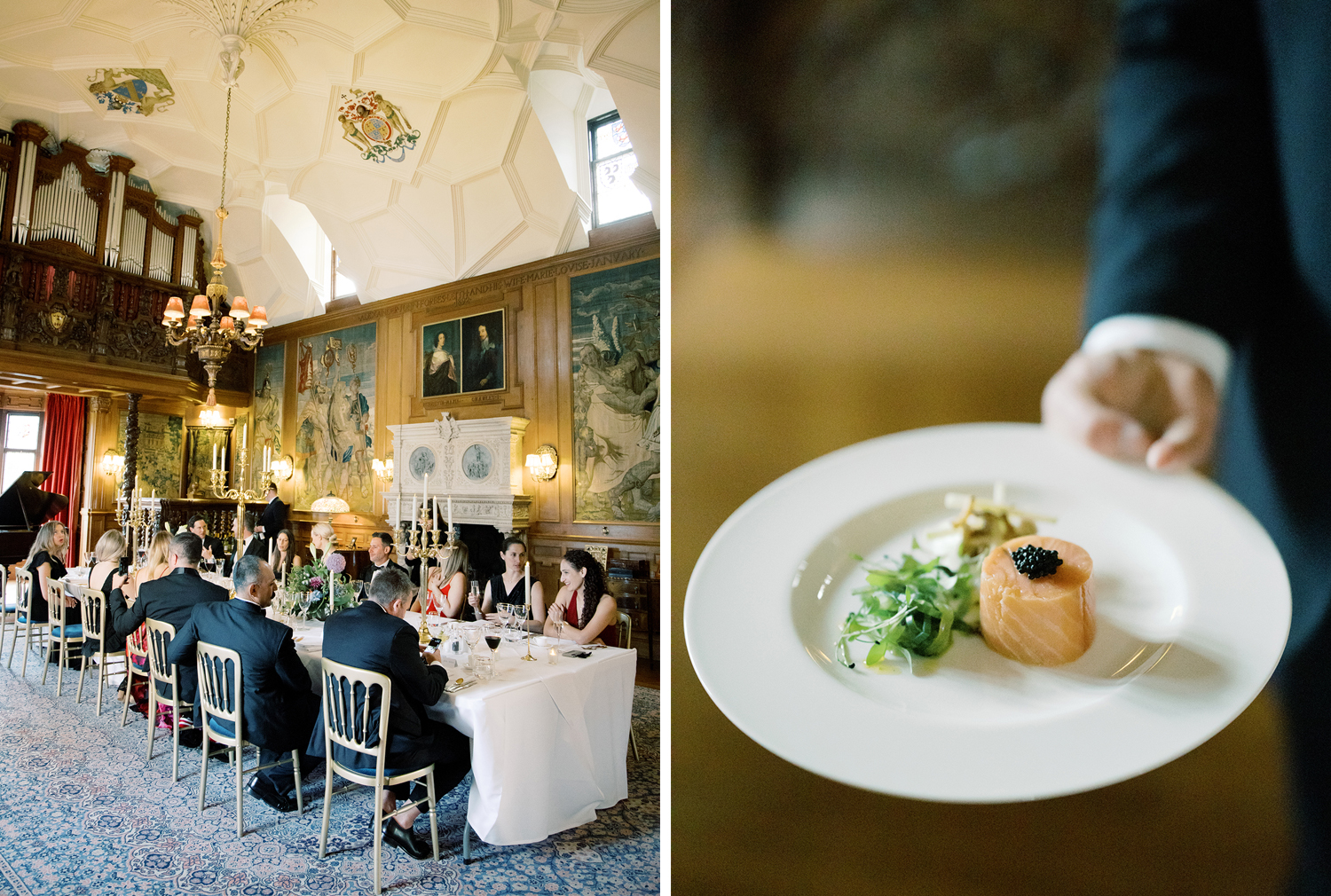 Dinner time at this black tie surprise party at Fyvie Castle in Scotland