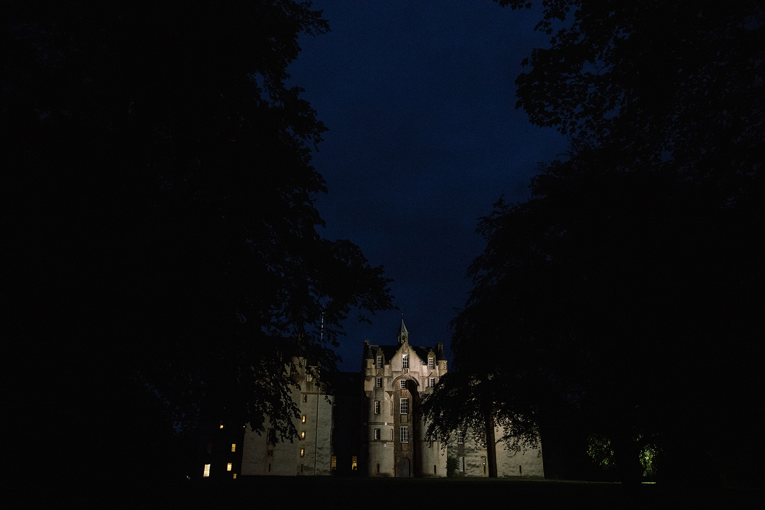 View of Flyvie Castle at night.